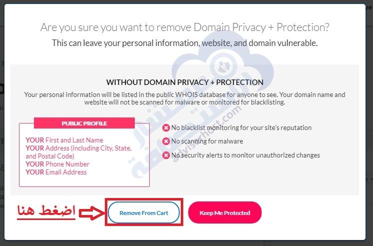 إلغاء خدمة Domain Privacy & protection
