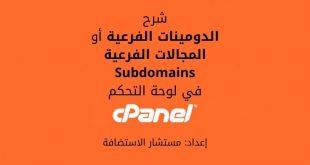 لوحة التحكم cPanel: الدومينات الفرعية Subdomains