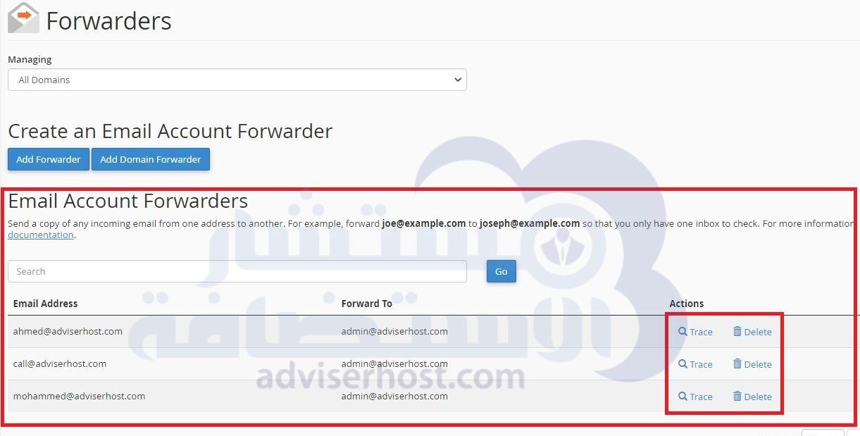 حذف وتتبع Email Account Forwarder - الأدوات Forwarders